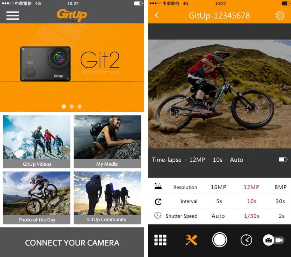 apps cámaras deportivas gitup git 2p