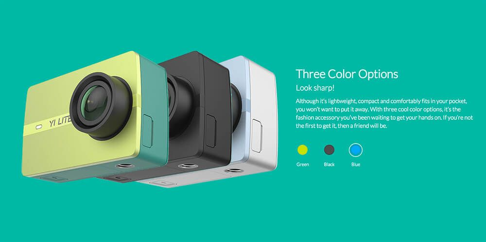 diseño xiaomi yi lite action camera