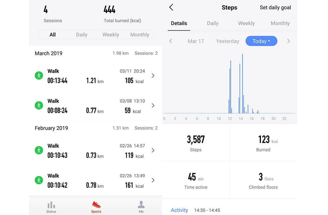 actividad diaria amazfit app android