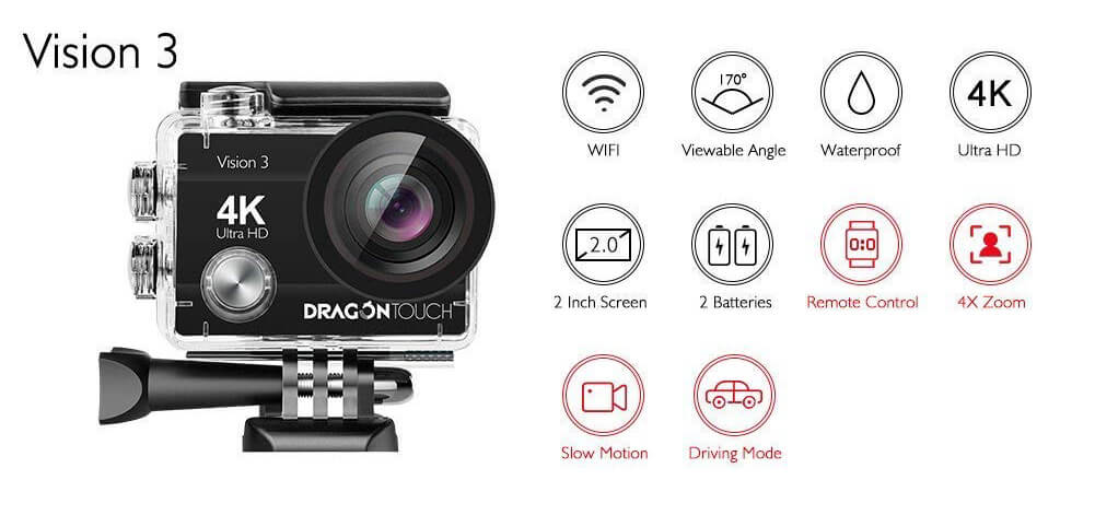 especificaciones camara deportiva dragon touch version 3