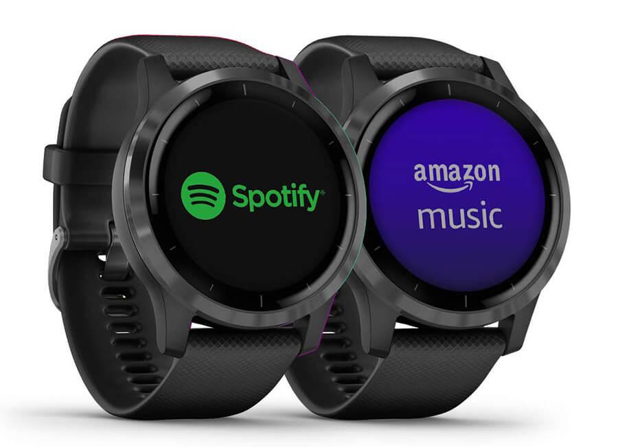 garmin vivoactive 4 app Spotify Deezer amazon music