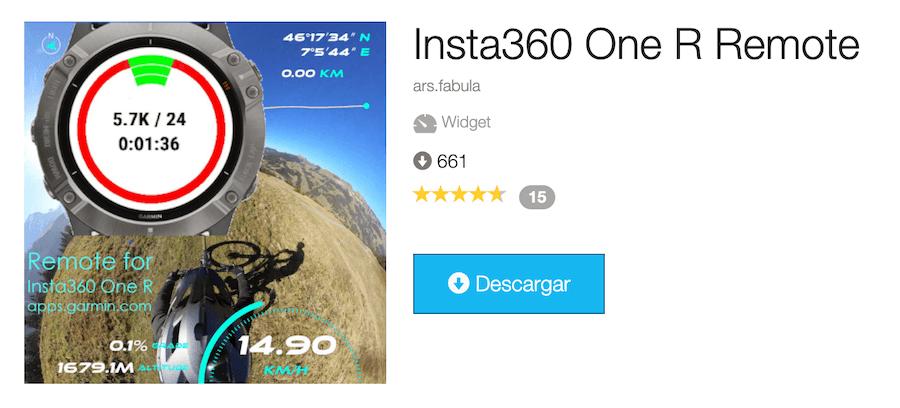 app garmin para insta360 one r