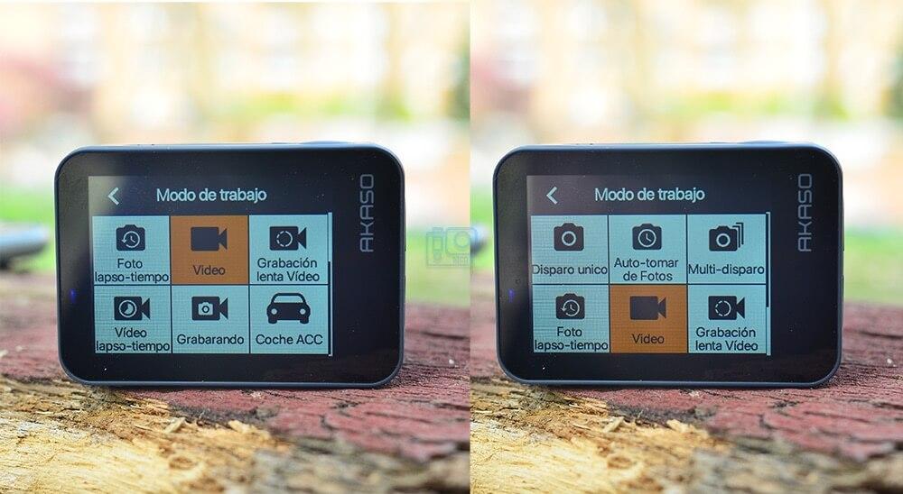 modos de video y foto en akaso v50 x