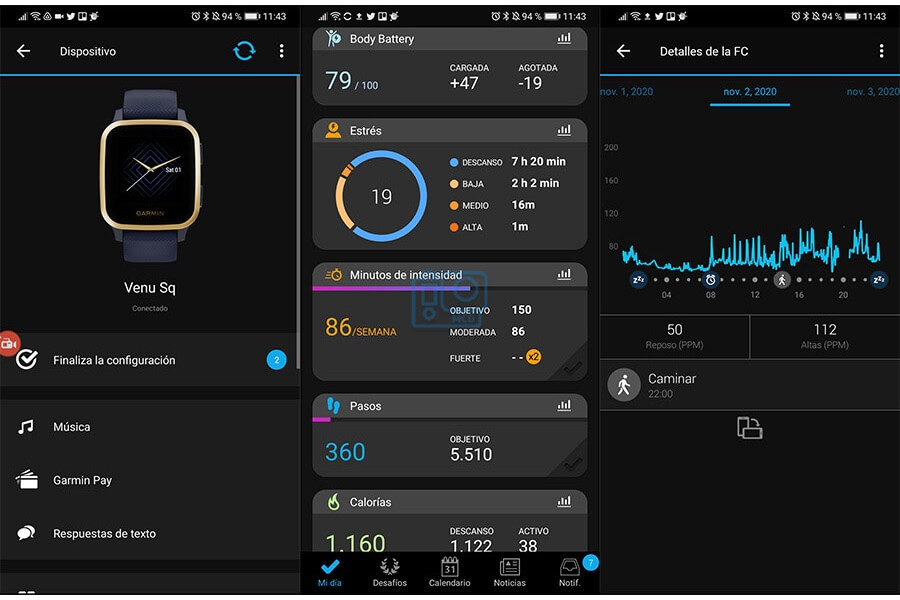 app Garmin Connect para venu sq