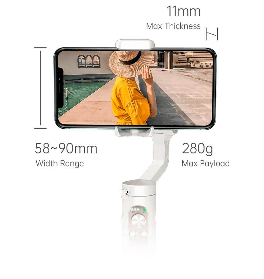 peso máximo smartphone permite estabilizador isteady x