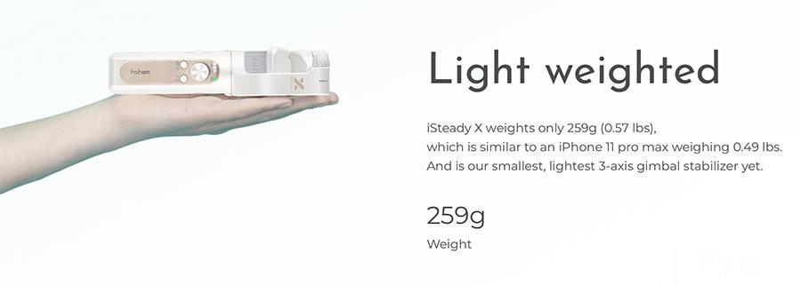 hohem isteady x 3-axis smartphone gimbal stabilizer