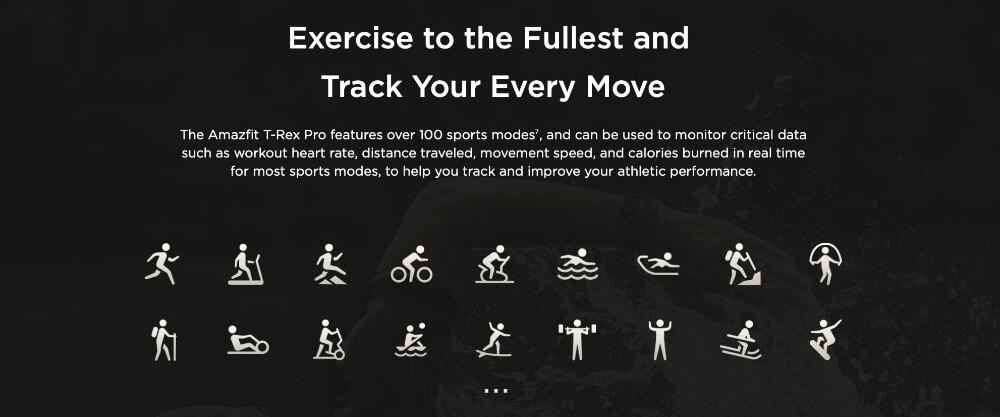 modos de deportes en amazfit t-rex pro