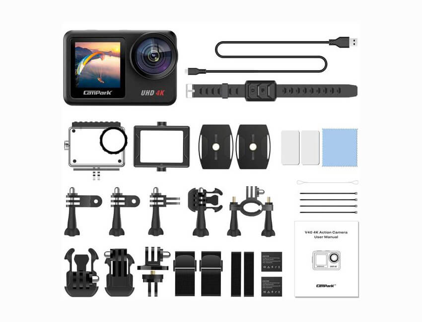 accesorios incluidos campark v40 action camera